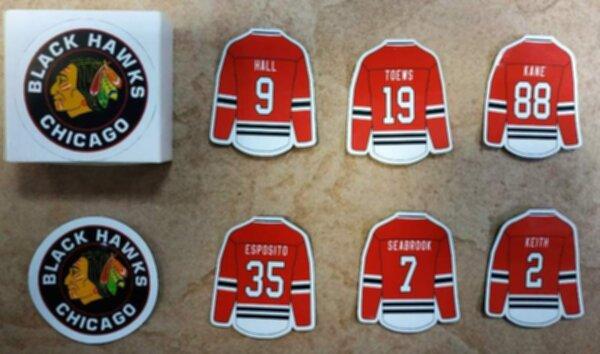 набор магнитов Chicago Blackhawks  7 шт. винил  5 х 4 см