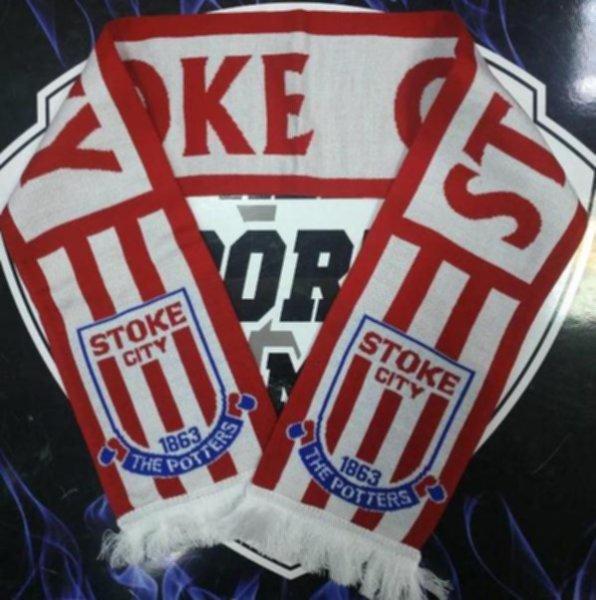 шарф Stoke City(вязанный,двухсторонний)акрил 100%