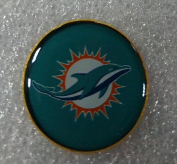 значок Miami Dolphins №1249  2,5 см металл+полимерная смола