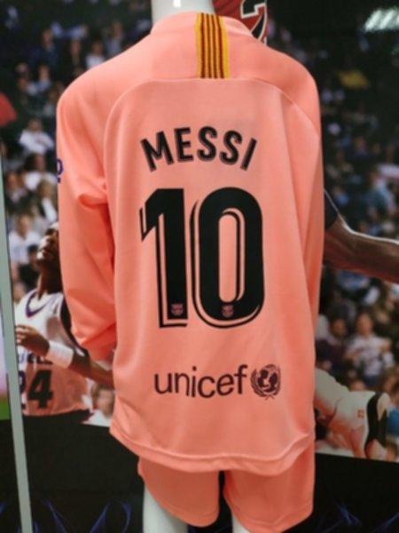 форма детская Barcelona №10 MESSI(длинный рукав)(резервная)(2018-2019)